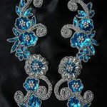 Blue Beaded Floral Appliques
