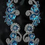 Blue Beaded Floral Appliques